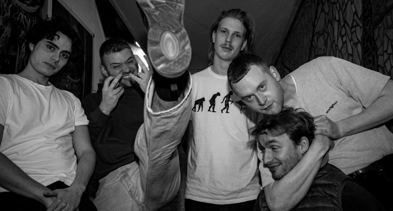 black and white portrait images of Danish punk band, Joyce, backstage at Loppen, Copenhagen.
